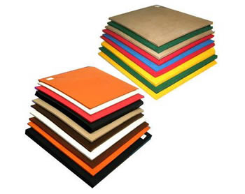 Various colors of nitrile rubber sheet including orange, red, black, green and white, etc.