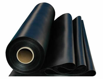 A roll of black nitrile rubber sheet