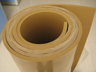 A roll of pure gum rubber sheet